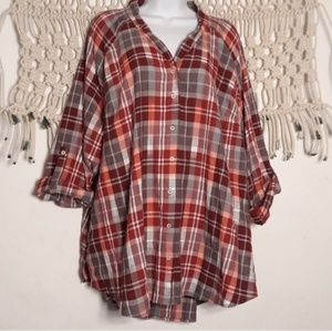 Lane Bryant maroon pink gray plaid tunic top
